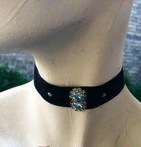 Velvet Ribbon Necklace Women's Blue Rhinestone Black Fabric Choker Vtg J... - $32.09