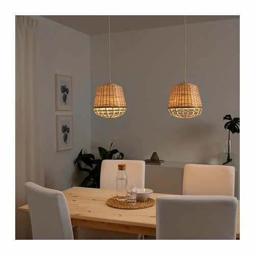 "IKEA INDUSTRIELL Pendant lamp, bamboo,9 """