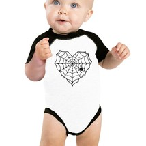 Heart Spider Web Baby Black And White Baseball Shirt - $15.99