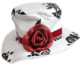Women's Deluxe White Paisley Mini Top Hat With Red Rose - $7.18