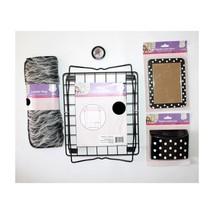 5pc Set* SCHOOL LOCKER DECOR Shelf+Storage+Mirror+Rug+Mini Frame BLACK+W... - $24.74