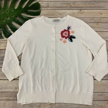 Loft Embroidered Cardigan Sweater Size L Cream Pink Flowers 3/4 Sleeve Cotton - $22.17