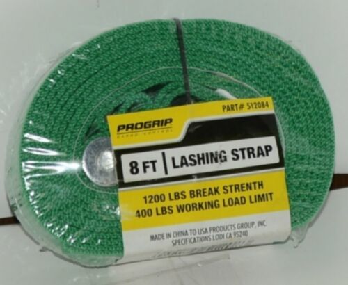 Progrip 512084 8 Foot by 1 inch Lashing Strap Green New in Package