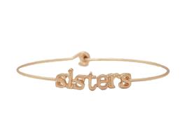 Sisters Inspirational Message Stencil Wire Hook Clasp Bangle Bracelet - $12.95