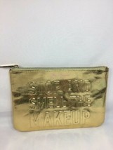 """BNIB Too Faced Gold """"Stop And Smell The MakeUp"""" Bag Case Limited w/reciept - $8.54"""