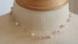 "16""ARTSY ARTISAN PINK CRYSTAL FAUX PEARL WIRE CHOKER NECKLACE,CUSTOM DES... - $7.12"