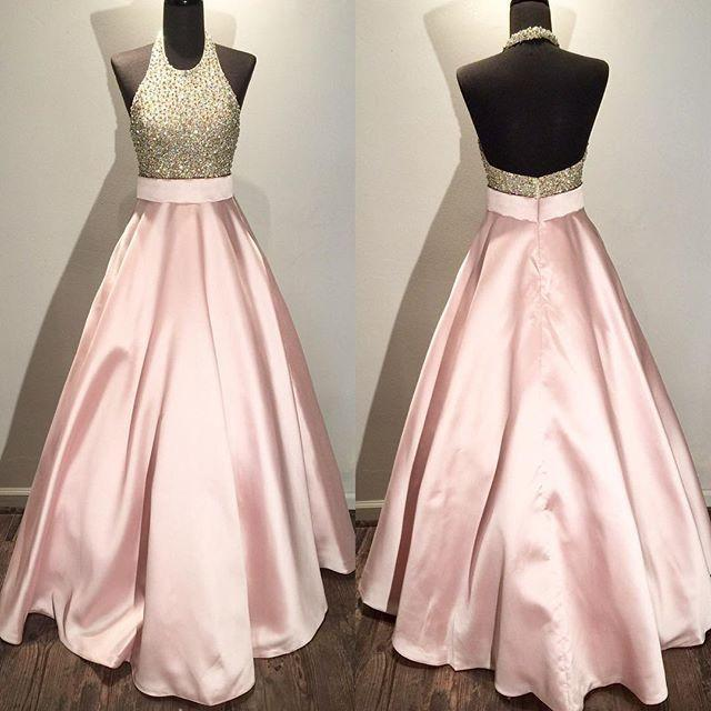 A-line long halter beaded prom dresses,pink evening dresses,BD3771