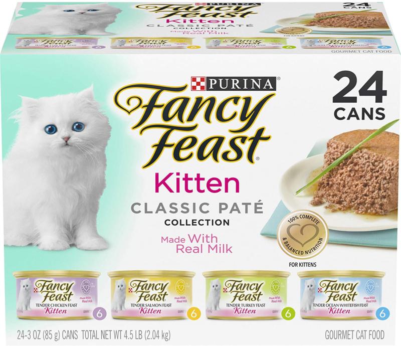 Purina Fancy Feast Grain Free Pate Wet Kitten Food Variety Pack (24) cans 3 oz - $27.50