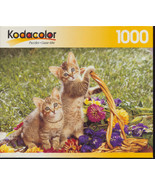 SPRING INNOCENCE Kittens in Basket Jigsaw Puzzle Kodacolor 1000 pieces S... - $11.95