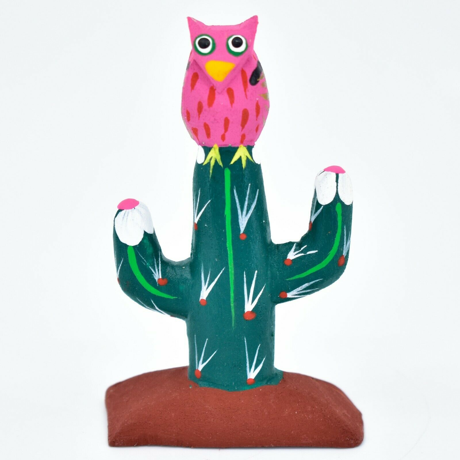 Handmade Alebrijes Oaxacan Wood Carved Painted Folk Art Owl w Cactus Figurine