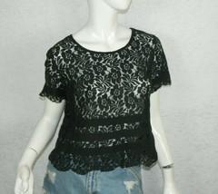 BCBG Black Shirt Black Lace Top Shirt Size Small - $15.79