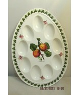 "PORTMEIRION ""Pomona"" Deviled Egg Dish 9 Egg  The Roman Apricots 12.5""X9""... - $36.47"