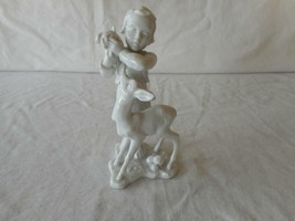 Rosenthal Germany Blanc De Chine Girl Feeding Fawn Figurine #1665 - $112.50