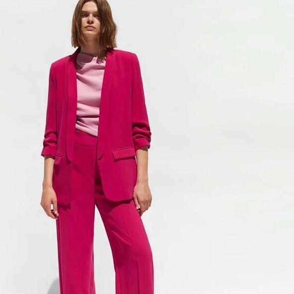 Autumn winte women blazer pants suits solid color suit office lady long jacket long pant ladies
