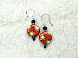 Red Coin Shaped Earrings Pierced Drops 18mm Yellow Dots Handmade Polymer... - $18.99