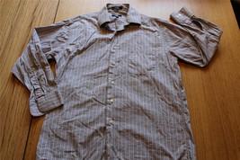 M3016 Mens Calvin Klein Gray White Striped Cotton Dress Shirt Button Up Medium - $14.50