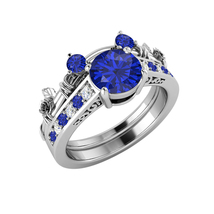 White Gold Over Blue Sapphire & Diamond Mickey Mouse Bridal Engagement Ring Set - $96.90