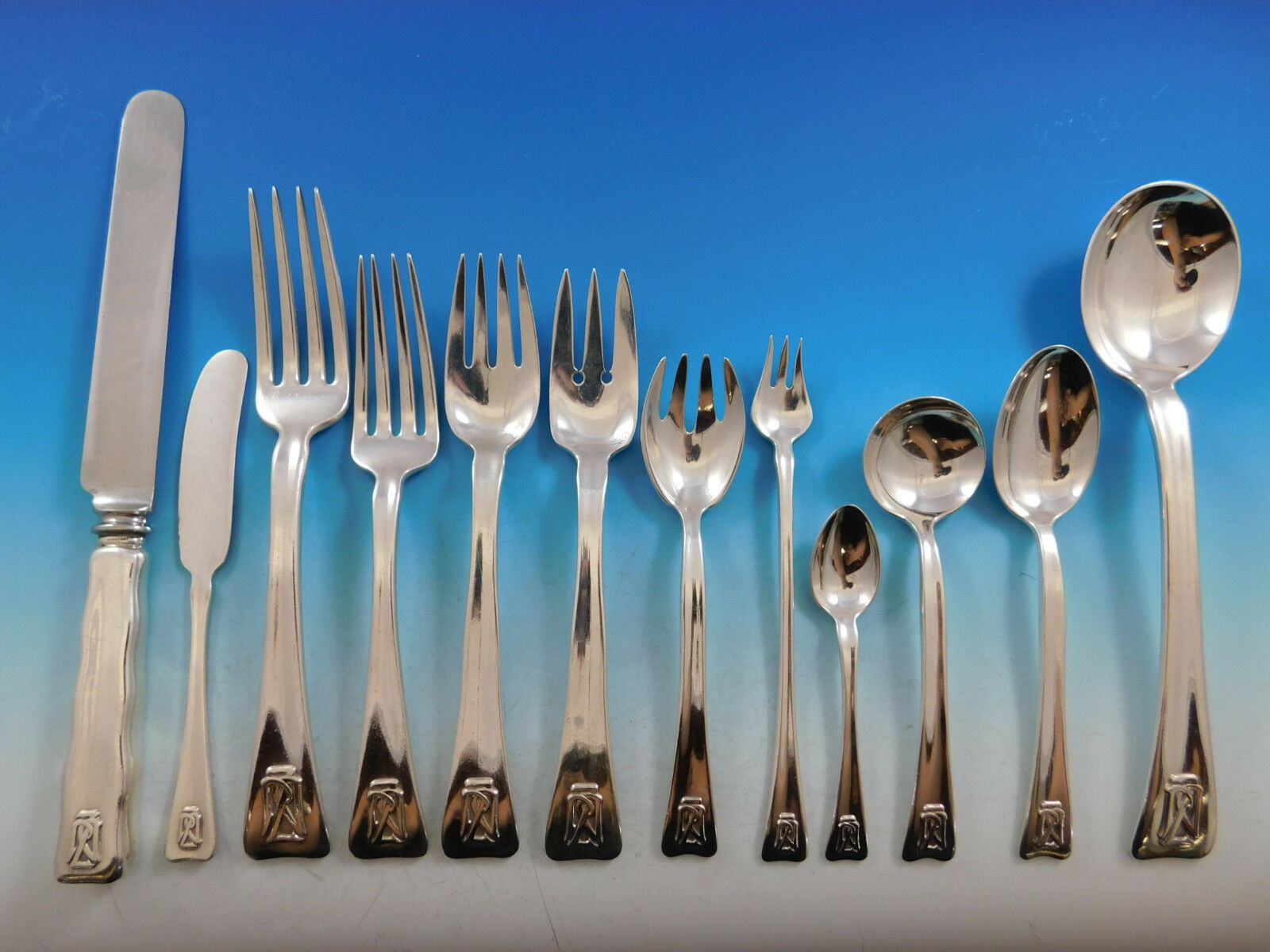 Primary image for Lap Over Edge by Tiffany and Co Sterling Silver Flatware Set 8 Service 112 pcs