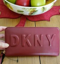 DKNY TILLY Scarlet Red WALLET Zip-Around Clutch Signature Logo NWT image 5