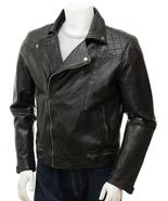 QASTAN Men's New Black Moto / Biker / Racing Sheep Leather Jacket QMJ69 - $169.00