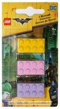 SANTOKI* 3pc LEGO MOVIE Brick Shaped Erasers BATMAN+NINJAGO New! *YOU CHOOSE* image 3