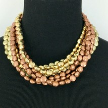 """JOAN RIVERS chunky multi-strand beaded statement necklace - copper gold-tone 19"""" - $24.50"""