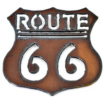 """Country Western Rusted Patina Iron Metal Cutout Route 66 Sign 3.25"""" Magnet"""