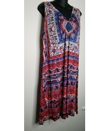 LIVE AND LET LIVE Floral Dress 2X Beaded Stretch Sleeveless Red Blue White - $23.99