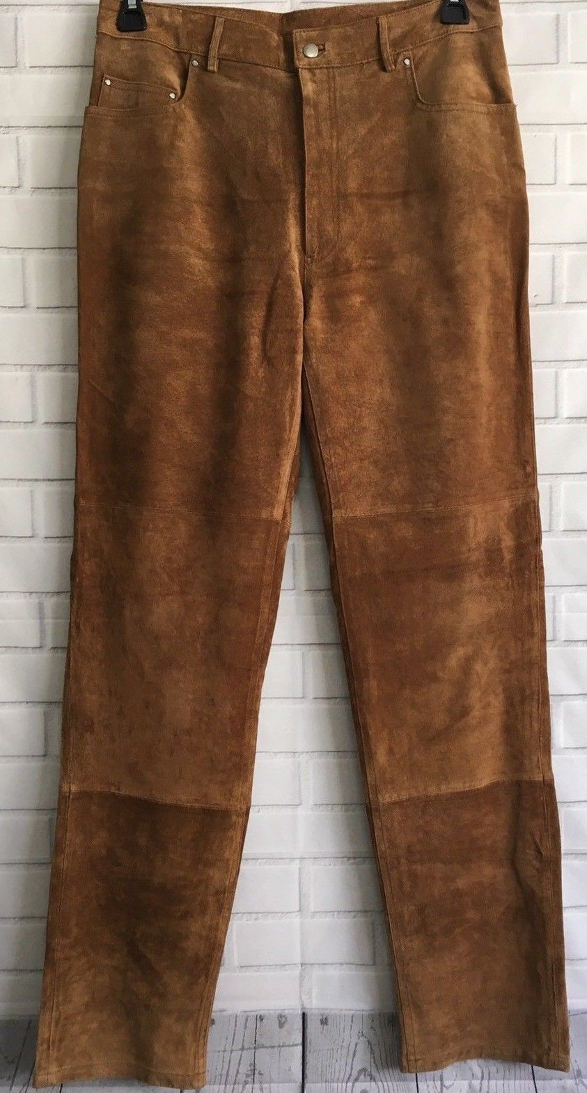 Men's New Western Brown Goat Suede Leather Cowboy Pant WP29 image 4