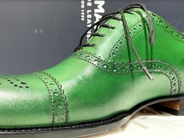 Handmade Men's Green Leather Brogues Style Lace Up Dress/Formal Oxford Shoes image 2