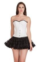 White Rice Leather Goth Waist Training bustier Overbust Tutu Skirt Corset Dress - $69.62