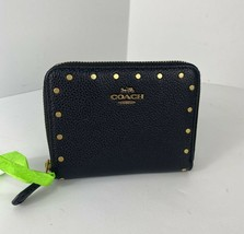 Coach Wallet Polished Black Leather Gold Edge Rivets Small Zip Around 3... - $97.99