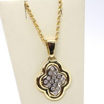 18K YELLOW & WHITE GOLD NECKLACE WITH DIAMONDS CROSS ROUNDED PENDANT image 1