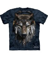 DJ Fen Wolf with Earphones and Feathers Hand Dyed Art T-Shirt, NEW UNWORN - $14.50
