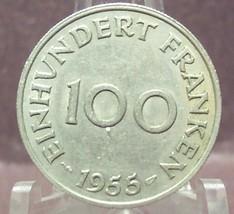 KM#4 1955 100 Franken Saar Protectorate XF #322 - $6.85