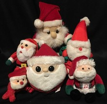 "Lot of 6 Mini (3.5""-7"") PLUSH SANTA CLAUS toys Gund Jeepers Peepers RUSS... - $13.85"