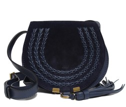 New Chloe Marcie Small Navy Suede Leather Messenger Bag - $11.847,79 MXN