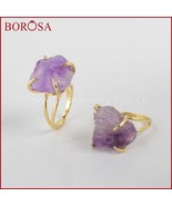 10 pcs Size 6 Gold Color Claw Setting Rough Amethysts Druzy Ring Gems Ri... - $67.56