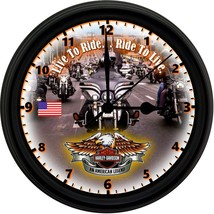 HARLEY DAVIDSON USA 8in. Unique Homemade Wall Clock w/ Battery Included - £18.58 GBP