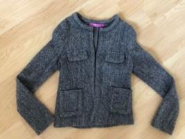 Val Max Girls Italy Designer Sz 8 /75 Gray Cardigan Pocket Mohair Gray S... - $9.89