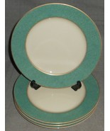 Set (4) Mikasa Fine China ESQUIRE TEAL PATTERN Salad Plates MADE IN JAPAN - $39.59