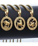 Men's Women's 12 Horoscope Zodiac Sign Gold Pendant Necklace Aries Leo W... - ₹745.11 INR+