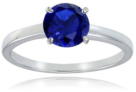Sterling Silver Created Blue Sapphire 8mm Round Solitaire Bridal Engagem... - $39.80