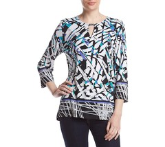 Alfred Dunner Closet Case Abstract Top With Border S 4635-3 - $21.29