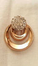 Ernest Steiner Original Crystal Pave Two Ring Modernist Fur Clip Pin - $26.00