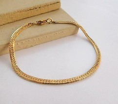 "Retro Vintage Textured Yellow Gold Tone 7"" Minimalist Chain Bracelet K49 - $11.04"