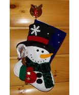 "Decorative Snowman in Green Scarf Carries Snow Shovel Plush 14"" Xmas Sto... - $7.89"