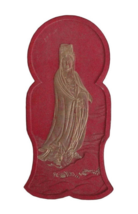 Chinese Calligraphic Red Ink Stone With Gold Painted Kwan Yin Sculpture ... - $395.00
