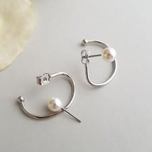 New Fashion Simple Twisted Pearl Ear Hook Geometric Double Side Geometric Hoop E - $10.01