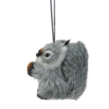 "Kurt Adler 3.5"" Gray and White Furry Woodland Squirrel Christmas Ornament - $9.64"